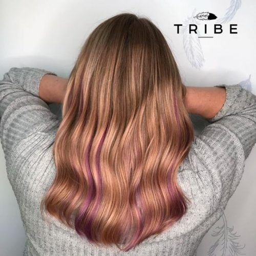 peekaboo pink with Rose Gold Aveda Colour Styled by Christopher in Tribe Salon Chislehurst